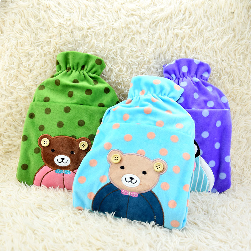 Cartoon Bear Hot Water Bottle PVC Hot Water Bag Washable Flannel Cover Hand Warmer Storage Water Bag 1pc 25*18cm 2052HW<br><br>Aliexpress