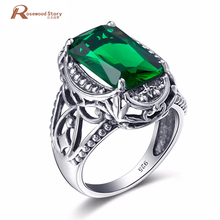 Dubai Engagement Wedding Jewelry Real 925 Sterling Silver Crystal Green Stone Lover Rings China Silver Brand Fine for Women(China)
