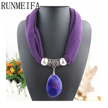 [RUNMEIFA]  New fashion High Quality natural stone Pendants scarf& necklaces Jewelry pendant scarf 10 colors Free shipping