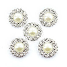 30pcs Ivory Pearl Round Rhinestone buckle two Row crystal fit wedding ribbon and hair jewelry Wedding Invitation card Decoration