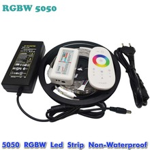 5M Flexible RGBW 5050 SMD LED Strip Light Waterproof DC12V RGB+White Diode Tape +RGBW Remote Controller+ 12V 5A Power Adapter
