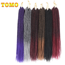 "TOMO 30roots 14"" 16"" 18"" 20"" 22""  Senegalese Twist Crochet Braid Hair Extensions Ombre Kanekalon Synthetic Braiding Hair"