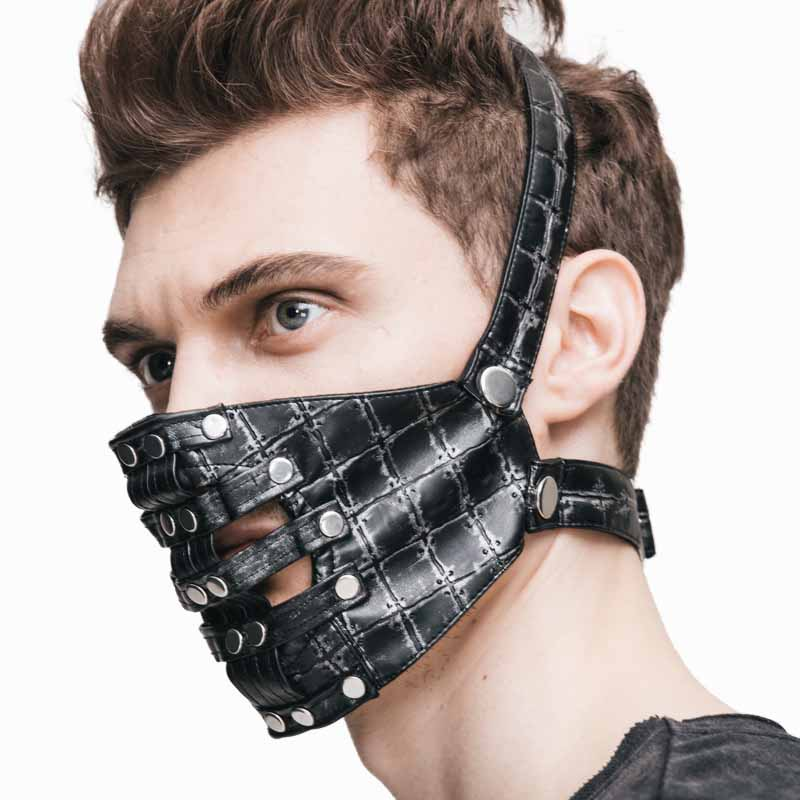 Healthsweet 1pc Half Steampunk Mask For Men Women Halloween Party Beauty, Punk PU Leather Metal Accessories A384<br>