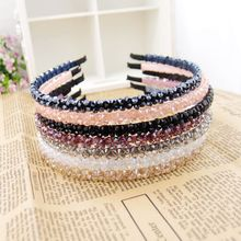 Fashion Pretty Women Acrylic Crystal Flower Decorate Headband Band Garland  Hairband for Girls Casual Headwear Accessories Party