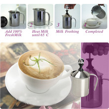 400ML Stainless Steel Milk Frother Double Mesh Milk Creamer Milk Foam for Coffee Milk Maker Kitchen Accessories