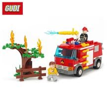 Fire Sprinkler Truck Building Blocks Toys Vehicle Model Fireman Figures Educational Gift For Children DIY Assembly Bricks(China)