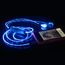 New Style Visible Flashing Glowing LED Light UP Cable In-Ear 3.5mm Headset Earbud with Mic for iPhone 5S 5C 5 4S