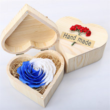 Christmas Gift For Lovers Hear Shape Wooden Box Rose Flower Handcrafted Handmade Valentine's Day Romantic Present WA149 T15 0.5(China)