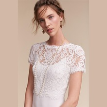 Elegant High Neck White Short Sleeve Lace Wedding Boleros 2017 Buttons Up Bridal Shawls Jackets novia Wedding Accessories B242