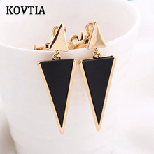 KOVTIA High Quality Triangular Clip On Earrings Without Piercing For Women Charm Black Ear Cuff Clip Earrings Jewelry 4 Colors