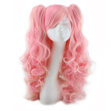 Harajuku Mixed Blonde Pink Wig Cosplay Long Curly Costume Party Synthetic Hair Wigs With 2 Ponytails Women Sexy Pelucas