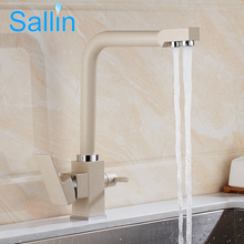 Chrome Brass Kitchen Faucet White/Black Bronze Dual Handle Filter Kitchen Sink Mixer Drinking Water Kitchen Faucet Crane Mixer(China)