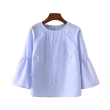 New Summer 2017 Fashion Women pearls beading shirt Blusas O-neck 3/4 flare sleeve Loose casual tops blusas