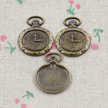 6pcs Pocket watch Charms Antique Bronze Plated Zinc Alloy Charms Pendants Metal Jewelry Findings Fit DIY 32*27mm