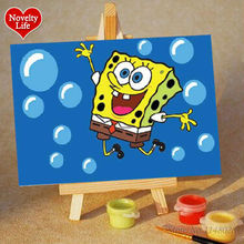 DIY Small Picture Painting By Numbers with Easel Spongebob Children Home Decor Canvas Oil Painit Kids Bed Room Living Wall Art(China)