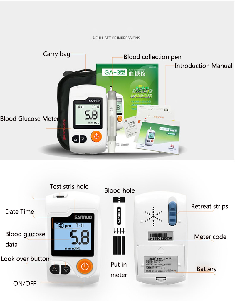 NEW Safe Accurate Blood Glucose Meter Level 10 Seconds Quick Test Glucometer Blood Sugar Monitor Meter 150pcs strips And Needle (6)