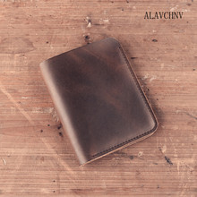ALAVCHNV handmade leather goods wallet men and women short wallet complex Sen Department of leather cowhide card package A006(China)