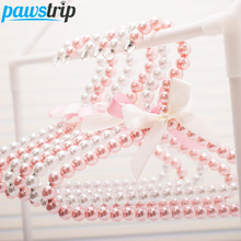 5pcs/lot Pet Clothes Hanger Iron Wire+Pearl Bow Clothes Hanger For Dogs 20*15.8cm(China)
