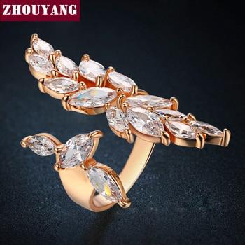 2016 Nuevo de Lujo AAA CZ Rose/el Oro Blanco Plateó La Joyería Del Anillo de Tamaño Variable Para Las Mujeres Party ZYR349-1 ZYR349-2