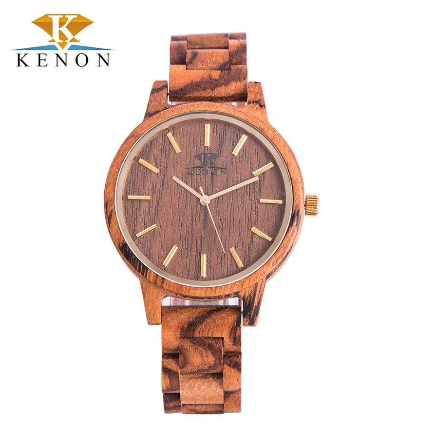 Hot High Quality Kenon Men Wrist Watches Shock Resistant 2017 Lastest Zebra Wood Quartz Creative Watch Gift For Lover<br><br>Aliexpress