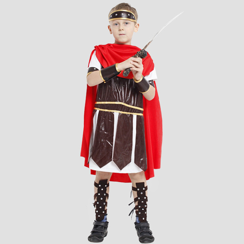 New Arrival Ancient Roman Warrior Costume Kids Halloween Cosplay Dress Boys Roman Soldier Performance Clothing<br><br>Aliexpress