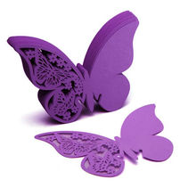 Hot Sale 50Pcs/Lot Butterfly Place Escort Wine Glass Cup Paper Card for Wedding Party Home Decorations White Blue Pink Purple