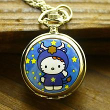 Free Shipping 100pcs/lot Fashion Lovely Hello Kitty Pocket Watch Children Watch  Fast Delivery Factory Price wholesale