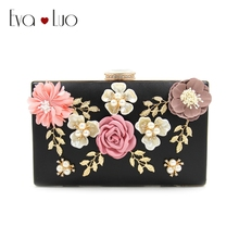 RQH9 DHL Free Shipping Flower Leaf Evening Bags Clutch Bag Women Clutches Lady Wedding bag Handbag Purse(China)