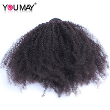 Mongolian Kinky Curly Human Hair Weave Bundles Hair Extensions 1 Pc Remy Hair Natural Color You May