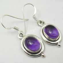 Silver REAL Amethysts Dangle Earrings 3.4CM(China)