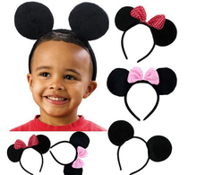 10pcs Children Hair Accessories Mickey Minnie Mouse Ears Headbands Birthday party Decoration Boys Girls headband Party Supplies