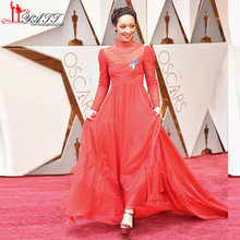 89th Annual Academy Awards Oscar Negga Red Lace Celebrity Dresses High Neck Long Sleeve Red Carpet Prom Party Evening Dresses