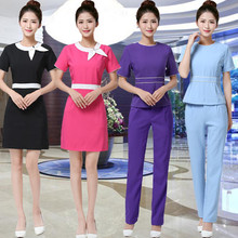New Designs Beautician Work Clothes Female Spring/Summer Nurse Uniform Pharmacy Work Uniforms New Drugstore Dress SPA Workwear(China)