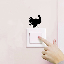 Personality Turkey Vinyl Bedroom Switch Stickers Funny Removable Home Decor Wall Sticker2WS0476(China)