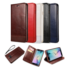 PU Leather Case For Samsung Galaxy S7 Edge Phone Coque Flip Wallet With Card Slot Cover Cases Fashion Simple Personality Brown(China)