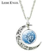 LIEBE ENGEL Fashion Glass Moon Statement Necklace Vintage Silver Color Jewelry Life Tree Art Picture Pendant Necklace  Women