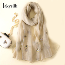 [Lakysilk]New Brand Silk Scarf Women Butterfly Embroidery Foulard Smooth Scarves Ladies Wool Head Long Scarf Wraps For Spring(China)