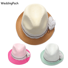 Boys Girls Panama Hats Solid Kids Straw Hat New Toddler Straw Beach Cap Summer Bow Infant Beanies 2017 Children Accessories 10Y