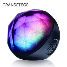 TRANSCTEGO Bluetooth speaker wireless stereo mini portable Colorful lights support TF card Super bass subwoofer ball speakers(China)