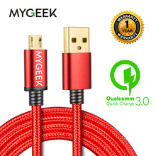 MyGeek New Nylon Micro USB Cable Samsung HTC Huawei Android 2m Mobile Phone Cables Fast Charge wire - Global Store store