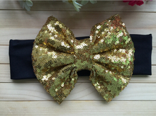 5pcs/lot Free Epacket/CPAP Metallic Messy Bow Head wraps, Jersey Knit Headwraps,Gold Bow Cotton Headband, Hair Accessory