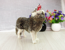 simulation wolf model large 28x10x26cm,plastic&furry fur dark gray wolf handicraft,home decoration toy Xmas gift w5866