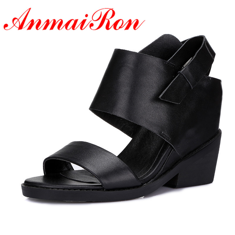 ANMAIRON Classics  Women Sandals Fashion  Height Increasing Summer Shoes Full Grain Leather Causal Women Shoes Size 34-39<br><br>Aliexpress