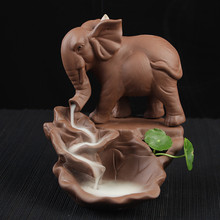 Elephant Backflow Incense Burner With 10Pcs Incense Cones Purple Clay Incense Censer Use In Home Office(China)