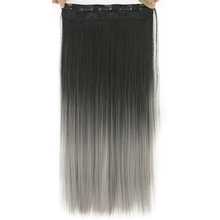 Soowee 24'' Long Straight Women Black to Gray Natural Ombre Hair High Tempreture Synthetic Hair Piece Clip in Hair Extensions