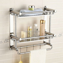 modern double towel rack,wall mounted stainless steel bathroom shelving,double towel bars and hooks,Free Shipping J16396(China)