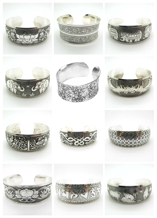 Vintage Tibetan Cuff Bangle Carved Open Wide Bracelet Jewelry Antique Silver Bohemian Bangle For Women