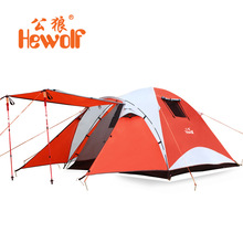 Hewolf 3-4 person double layer super strong waterproof camping tent beach tent(China)