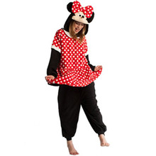 Nueva Llegada Fleece Adultos Animal Pijama Party Pijama Suave de Dibujos Animados Anime Cosplay Mujeres Onesies Adulto Lindo Minnie Mouse