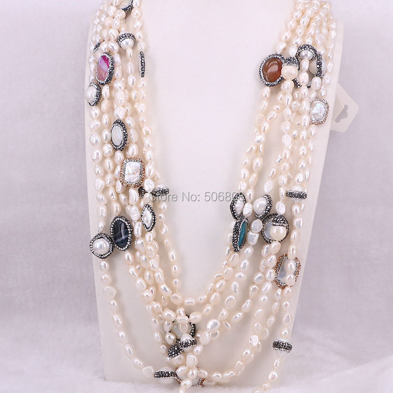 6 Strands Handmade Fashion Women Natural Freshwater Pearl Chain Necklace Pearl Stone Rhinestone Paved Beads Jewelry ZYZ160-8583